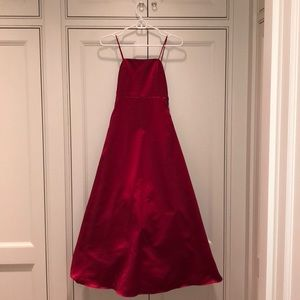 Pretty long red David's Bridal gown girls size 8